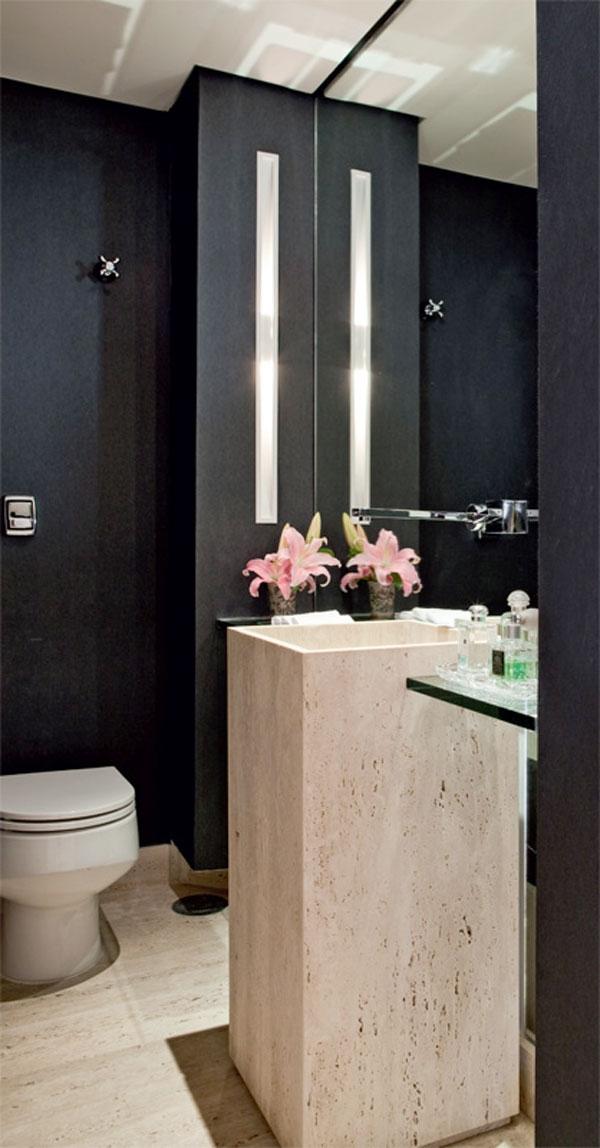 8 lavabos com papel de parede